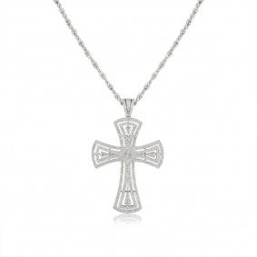 18k White Gold Diamond Set Cross Pendant 3.00ct G/VS2